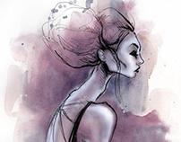 Profile pen sketch colored