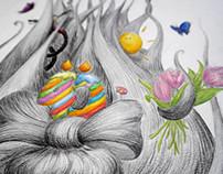 Illustration for birthday invitation cards
