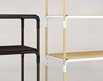 pipe wood shelf