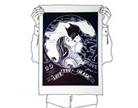 HERO KISS (lino cut print)