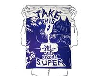 HERO IN A PILL (lino cut print)