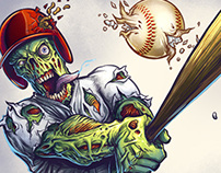 Zombie Baseball Player Mascot