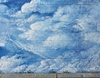 Cloud Mural -Gulf Gas station - NW, Detroit