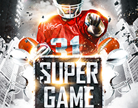 American football Super Game flyer vol.2, PSD Template
