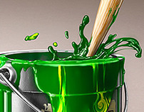 Green paint with dots