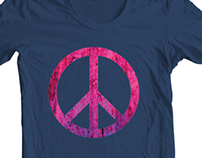 Grunge Peace Sign T Shirt and Metal Poster