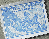 LETTERPRESS CHRISTMAS POSTAGE STAMPS