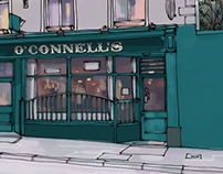 Illustrations for a series on Irish pubs