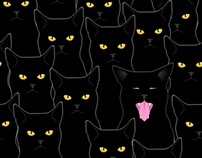 Black cats seamless pattern