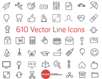 610 Vector Line Icons Set