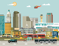 Convene magazine - American city illustration