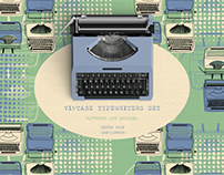 Vintage Typewriters Set Patterns and Brushes