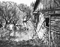 Ein Dorf in Rumänien (Bleistiftzeichnung)