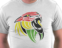 Lion Reggae Colors Cool T Shirt Design