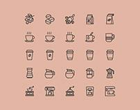 25 Coffee Theme Vector Icons