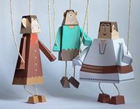 Harap-Alb DIY paper puppet figures