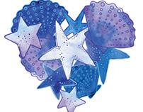Seashell illustration for girls' swimwear