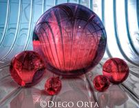 3D Ruby Spheres.