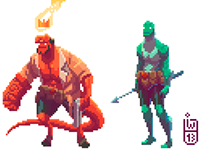 Hellboy the pixel guy