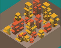 isometric ' city in a box'