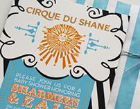 Stationery design: Cirque du Soleil theme shower