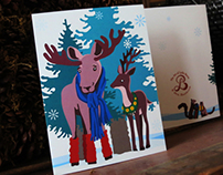 Winter Moose and Deer