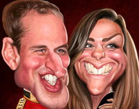 William and Kate wedding caricature