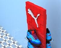 Torre de exposição para calçados Puma.