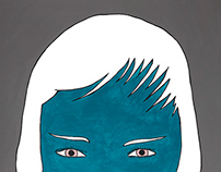 Blue woman with stubble