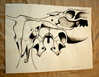 Cow Skull Perspective Drawings
