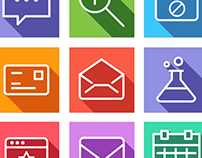 Flat Line Icons - Web Icons for iOS9, Android, Web