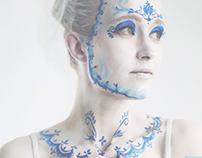 """Gzhel style porcelain doll"" Body art"