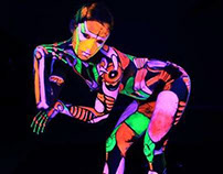 """UV Robots"" Blacklight Bodyart for promo video"