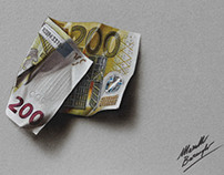 The two hundred euro note - drawing
