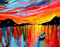 Red Sky At Night original oil painting on canvas
