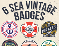 6 Sea Vintage Badges