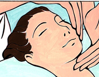 Illustrative drawings for lifting facial massage Course