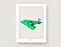 MINI-GOLF ALPHABET: Fanciful hand-rendered typography