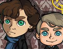 Chibi Sherlock and Watson