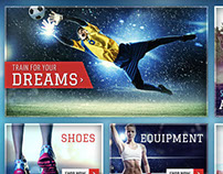Sports themed homepage design