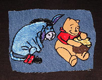 Handmade patch/applique, handpainted w/ POOH & EYEORE