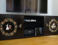 TV Commode with art paintings