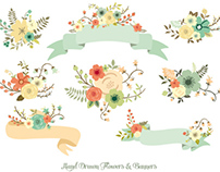 Hand Drawn Flowers & Banners