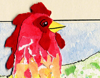 Redcap Rooster Illustration
