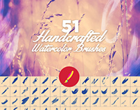 51 Handcrafted Watercolor Brushes by Layerform