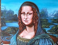 Monalisa by Pallominy after Davinci's 2014 Oil on wood.