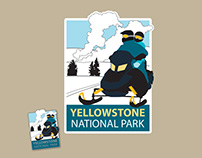 Yellowstone Winter Snowmobiling pin and patch