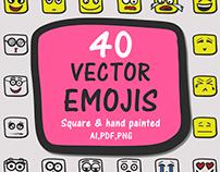 Hand painted square emojis