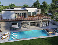 3D Exterior Walkthrough Home Design with Pool View