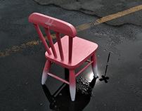Children's chair pink Miami - full handmade